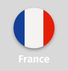france flag round icon with shadow vector image vector image