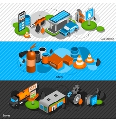 Gas station isometric banners set vector image