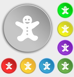 Gingerbread man icon sign Symbol on eight flat vector image
