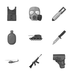 Military and army set icons in monochrome style vector image vector image