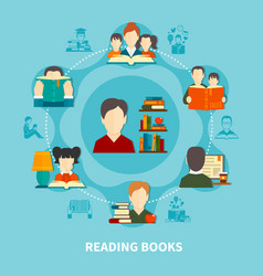 reading books round composition vector image vector image