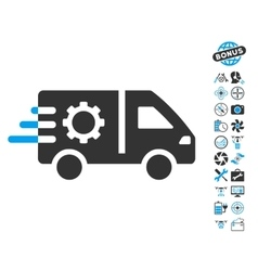 Service car icon with copter tools bonus vector
