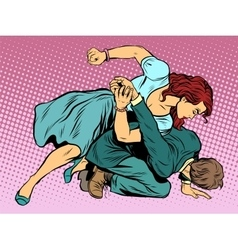 Woman beats man in fight vector image vector image