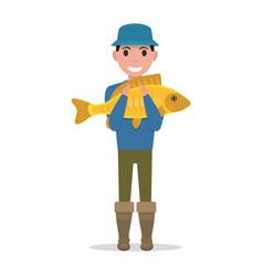 cartoon fisherman holding a fish vector image