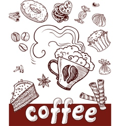 coffee and sweets vector image