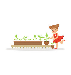 cute little girl learning about plants during vector image vector image