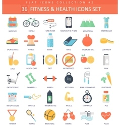 fitness and health color flat icon set vector image vector image