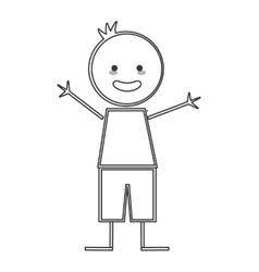 happy boy with open arms icon stick figure vector image vector image