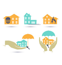insurance colorful icons set vector image vector image