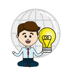 Man with idea bulb and global service data vector