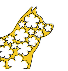 Portrait chinese dog with sakura flower vector