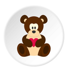 teddy bear with pink heart icon circle vector image vector image