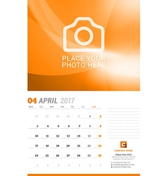 April 2017 Wall Monthly Calendar for 2017 Year vector image vector image