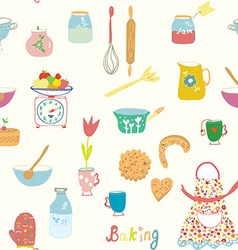 Baking seamless pattern with kitchen objects and vector image vector image