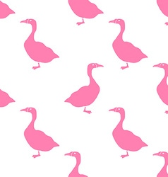 Hand Drawn Goose silhouette seamless pattern vector image