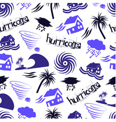 hurricane natural disaster problem icons seamless vector image