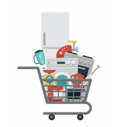 Kitchen appliances in shopping cart vector image