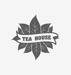 tea house logo badge or label design concept with vector image vector image