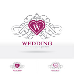 wedding logo heart shape crest with decorative vector image