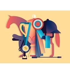 Win in equestrian sport vector image vector image