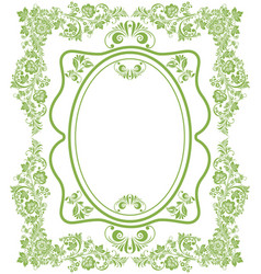 green eco russian floral frame background vector image vector image