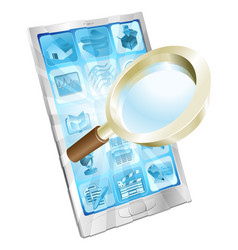 magnifying glass search icon phone concept vector image vector image