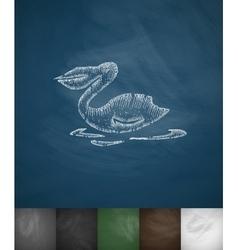 pelican icon Hand drawn vector image