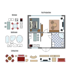 projection and furniture icons vector image