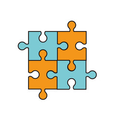 puzzle jigsaw work team vector image