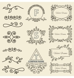 Set Logos framework individual ornament elements vector image