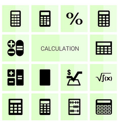 14 calculation icons vector