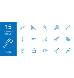15 tool icons vector