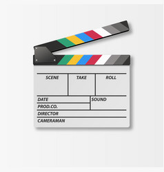 3d realistic opened movie film clap board vector