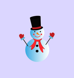 a snowman in the color icon winter vector image