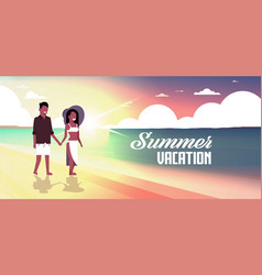 african couple man woman holding hands sunset vector image