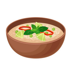 Appetizing thai food rice with vegetables vector