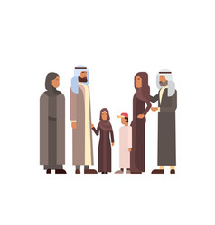 Arab family arabic parents with children vector