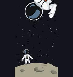 Astronauts on moon surface vector