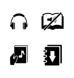 Audiobook simple related icons vector