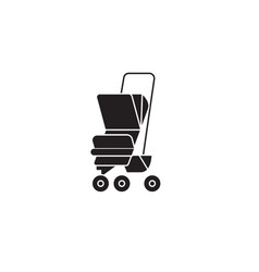 baby carriage black concept icon baby vector image