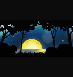 Background scene with fullmoon at night vector