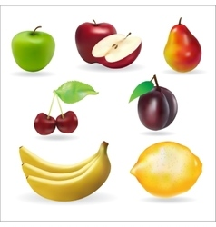 Banana apple pear cherry lemon fresh summer fruits vector