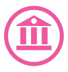 Bank flat pink color rounded icon vector