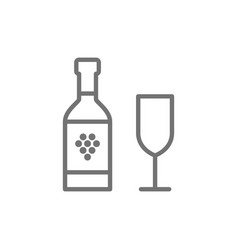 bottle wine with glass line icon vector image
