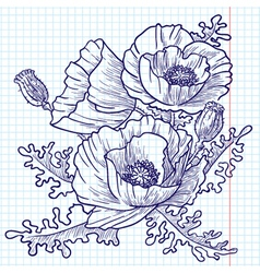 Bouquet of red poppies doodle version vector