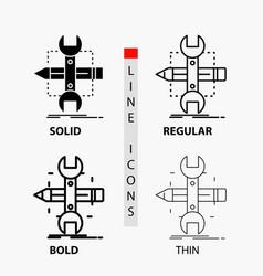Build design develop sketch tools icon in thin vector