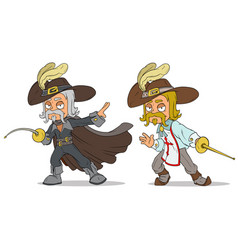 cartoon musketeer with sword characters set vector image