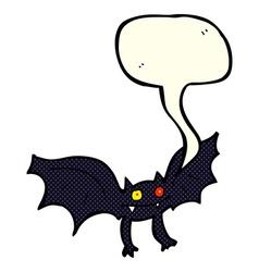 Cartoon vampire bat with speech bubble vector