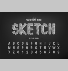 chalk font and alphabet hand draw style typeface vector image