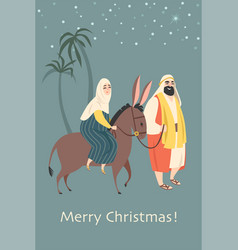 Christmas card in retro style with holy family vector